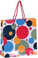 Торбичка за подарък на цветни точки - Размери 17 x 17 cm - продукт
