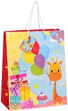 Торбичка за подарък - Жираф - Размери 26 x 32 cm - играчка