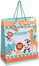 Торбичка за подарък - Животните в зоопарка - Размери 26 x 32 cm -