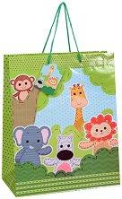 Торбичка за подарък - Животни в джунглата - Размери 26 x 32 cm -