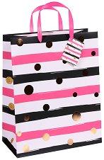 Торбичка за подарък - Точки и райета - Размери 26.5 x 34 cm - играчка