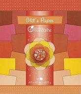 Блестящи хартии за скрапбукинг - Оранжев меланж - Комплект от 18 листа с размери 20 x 20 cm