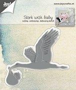Щанца за машина за изрязване и релеф - Щъркел с бебе - Размери 8.8 х 8 cm
