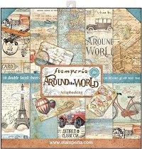 Хартии за скрапбукинг - Around The World - Комплект от 10 броя