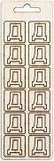 Формички от шперплат - Буква Д - Комплект от 12 броя с размер 2 cm