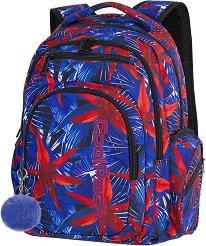 Ученическа раница - Flash: Hawaian Blue - Комплект с ключодържател - помпон - раница
