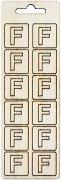 Формички от шперплат - Буква F - Комплект от 12 броя с размер 2 cm