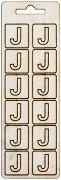 Формички от шперплат - Буква J - Комплект от 12 броя с размер 2 cm
