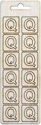 Формички от шперплат - Буква Q - Комплект от 12 броя с размер 2 cm
