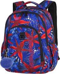 Ученическа раница - Strike: Hawaian Blue - Комплект с ключодържател - помпон -