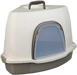 Ъглова котешка тоалетна с капак и вратичка - Alvaro - С размери 55 / 42 / 42 cm -