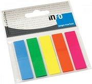 Самозалепващи неонови индекси - Комплект от 5 цвята по 25 листчета с размери 1.2 x 5 cm