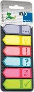 Самозалепващи цветни индекси - Стрелки - Комплект от 6 цвята по 25 листчета с размер 1.8 x 5.5 cm