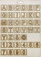 Формички от шперплат - Английска азбука, цифри и символи - Комплект от 38 броя с размер 2 cm