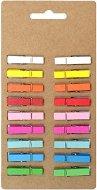 Цветни дървени щипки - Комплект от 18 броя с дължина 35 mm