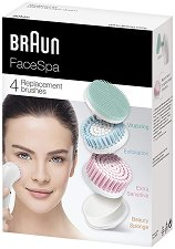 Braun FaceSpa 80MV Refills - Комплект от витализиращ накрайник, резервни четки и козметична гъба за лице - пяна