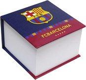 Хартиено кубче с твърди корици - ФК Барселона - С бели квадратни листчета с размери 9 x 9 cm
