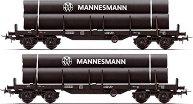 Товарни вагони - платформи носещи метални тръби - ЖП модели - комплект от 2 броя - макет