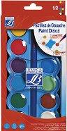 Темперни бои - Палитра от 12 цвята и четка