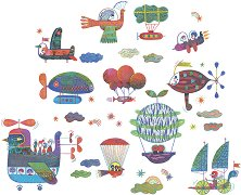 Стикери за декорация - Небесен трафик - Комплект от 25 броя