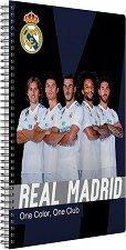 Ученическа тетрадка - ФК Реал Мадрид : Формат А4 с широки редове - 70 листа - раница