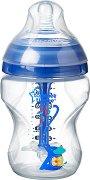 Бебешко шише за хранене - Advanced Anti-Colic Plus 260 ml - Комплект със силиконов биберон за бебета от 0+ месеца -