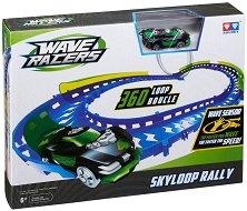 Wave Racers - Skyloop Rally - Комплект писта и състезателна кола със сензор за движение - кукла