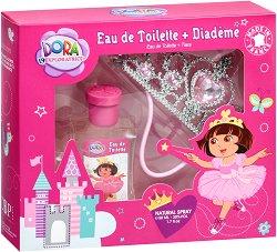 Детски подаръчен комплект - Дора Изследователката - С парфюм и корона за принцеси -