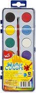 Акварелни бои - Палитра от 12 цвята с четка - детски аксесоар