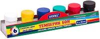 Темперни бои - Комплект от 6 цвята с четка - продукт