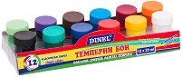 Темперни бои - Комплект от 12 цвята с четка