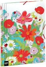 Папка с ластик - Цветя и калинки - Формат А4