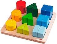 Подреди геометричните фигури - Детска образователна играчка от дърво -