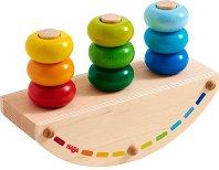 Подреди ринговете - Дървена играчка за баланс -