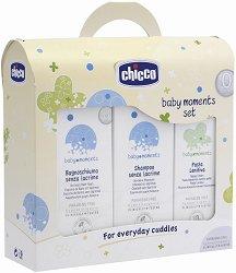 """Бебешки комплект с шампоан, пяна за вана и крем против подсичане - От серията """"Chicco Baby Moments"""" -"""