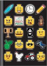 Ученическа тетрадка с твърда корица - LEGO Iconic : Формат А5 с широки редове - 96 листа -