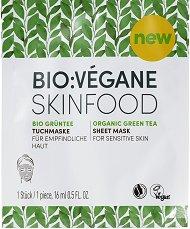 """Bio:Vegane Skinfood Organic Green Tea Sheet Mask - Лист маска за лице за чувствителна кожа с био зелен чай от серията """"Organic Green Tea"""" - фон дьо тен"""