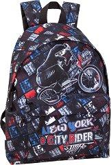 """Ученическа раница - Delbag Bike City Rider - От серията """"Delbag Graffitti"""" -"""