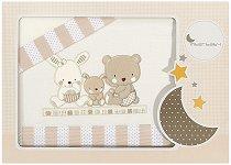 Спален комплект за бебешко креватче - Love Beige - 3 части за легло с размери 60 x 120 cm -