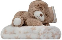 Бебешко микрофибърно одеяло - 80 x 110 cm - Комплект с плюшено мече - продукт
