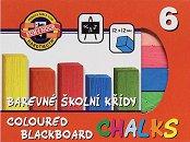 Цветни тебешири за черна дъска - Комплект от 6 или 12 цвята