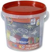 Цветни тебешири за асфалт - Комплект от 16 броя в пластмасова кофичка