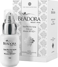Beadora Bright Pearl Sun Protection Cream Maxx - SPF 50+ - Слънцезащитен крем за лице с коензим Q10 - маска