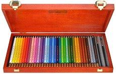 Акварелни моливи - Комплект от 36 цвята и 2 четки в дървена кутия