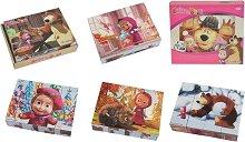 Дървени кубчета - Маша и мечока - Комплект от 12 части -
