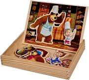 Магнитен дървен пъзел - Маша и мечока - Комплект от 39 части -