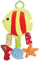 Плюшена рибка - Писукаща играчка с дрънкалка за детска количка или легло - играчка