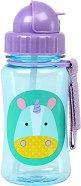 """Неразливаща се чаша със сламка - Еднорогът Юрика 350 ml - За бебета над 12 месеца от серията """"Zoo"""" -"""