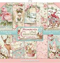 Хартии за скрапбукинг - Розова Коледа - Комплект от 10 броя