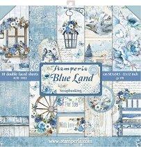 Хартии за скрапбукинг - Сини цветя - Комплект от 10 броя
